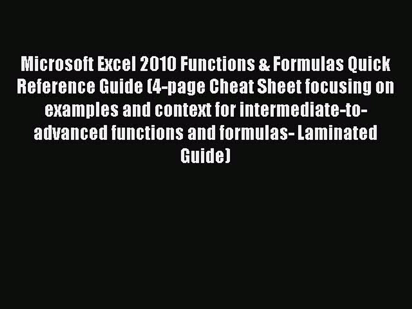 Microsoft Excel 20 Functions & Formulas Quick Reference Card 20 ...
