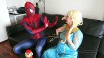 SPIDERMAN & FROZEN ELSA vs EVIL QUEEN! Elsa Gets Giant Nose Bubble Gum Challenge Superhero Real Life