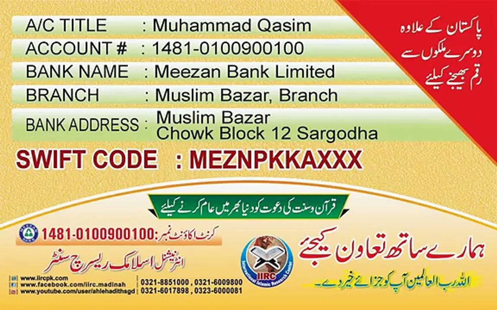 Meezan bank lahore pakistan swift code