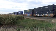 EBD Union Pacific Railroad stack train clears Nebraska cornfield   9/23/13