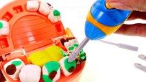 Dentist Amy Jo Helps Doctor Drill n' Fill Play Doh Cavities - Gross Playdough Teeth