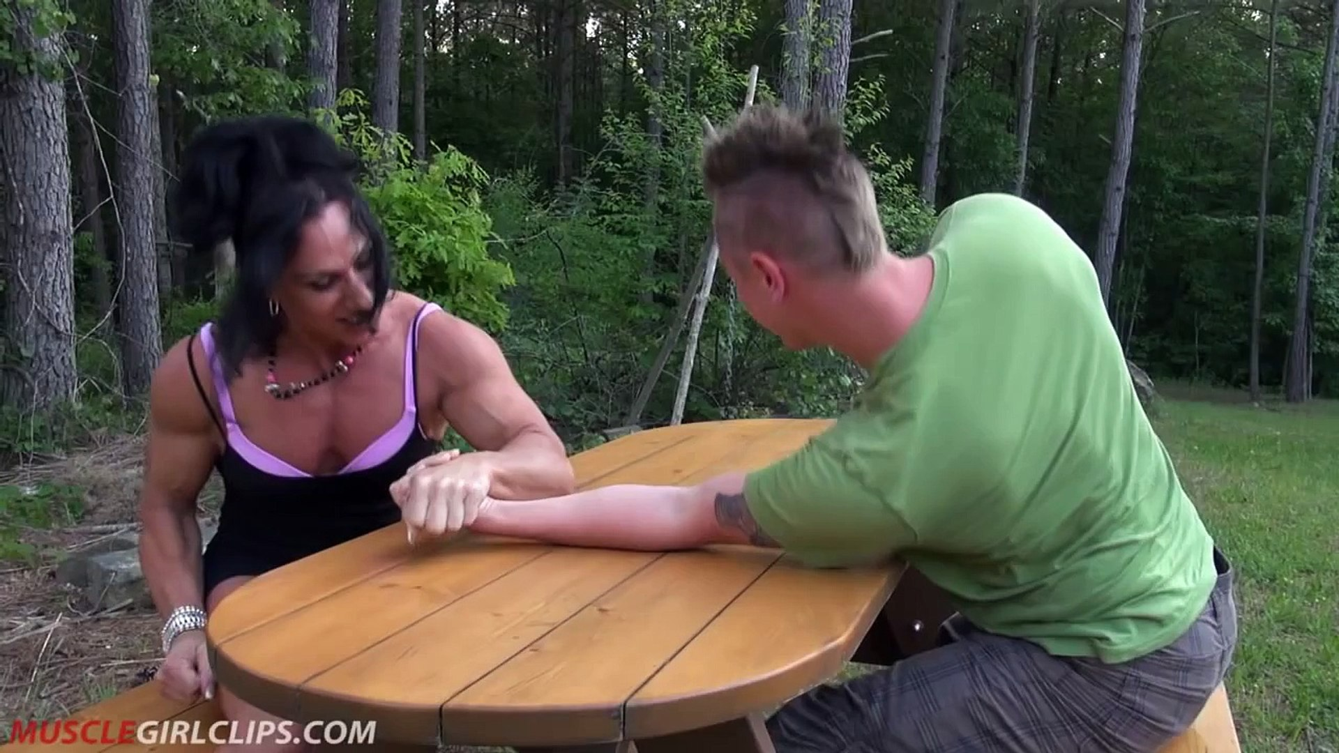Muscle Girl Clips - Armwrestling, Lift and Carry, Bellypunching