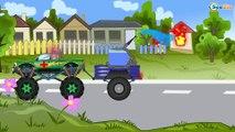 Caricaturas de carros. Coche de Policía, Un Camion Monstruo, Coches de Carreras. Carritos Para Niños
