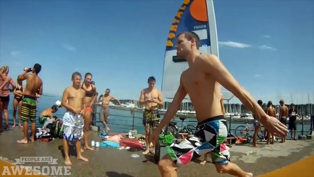 Trampoline Diving Into the Lake ¦ PEOPLE ARE AWESOME