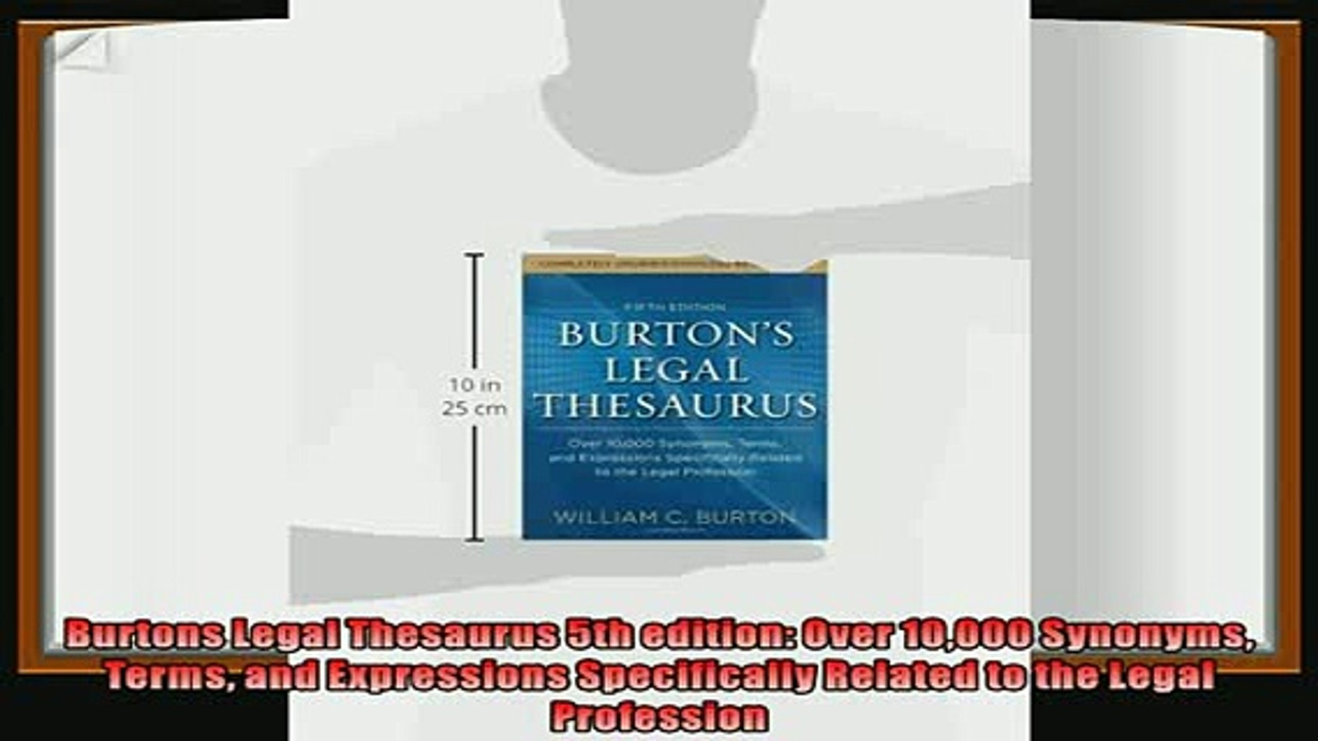 complete  Burtons Legal Thesaurus 5th edition Over 10000 Synonyms Terms and Expressions