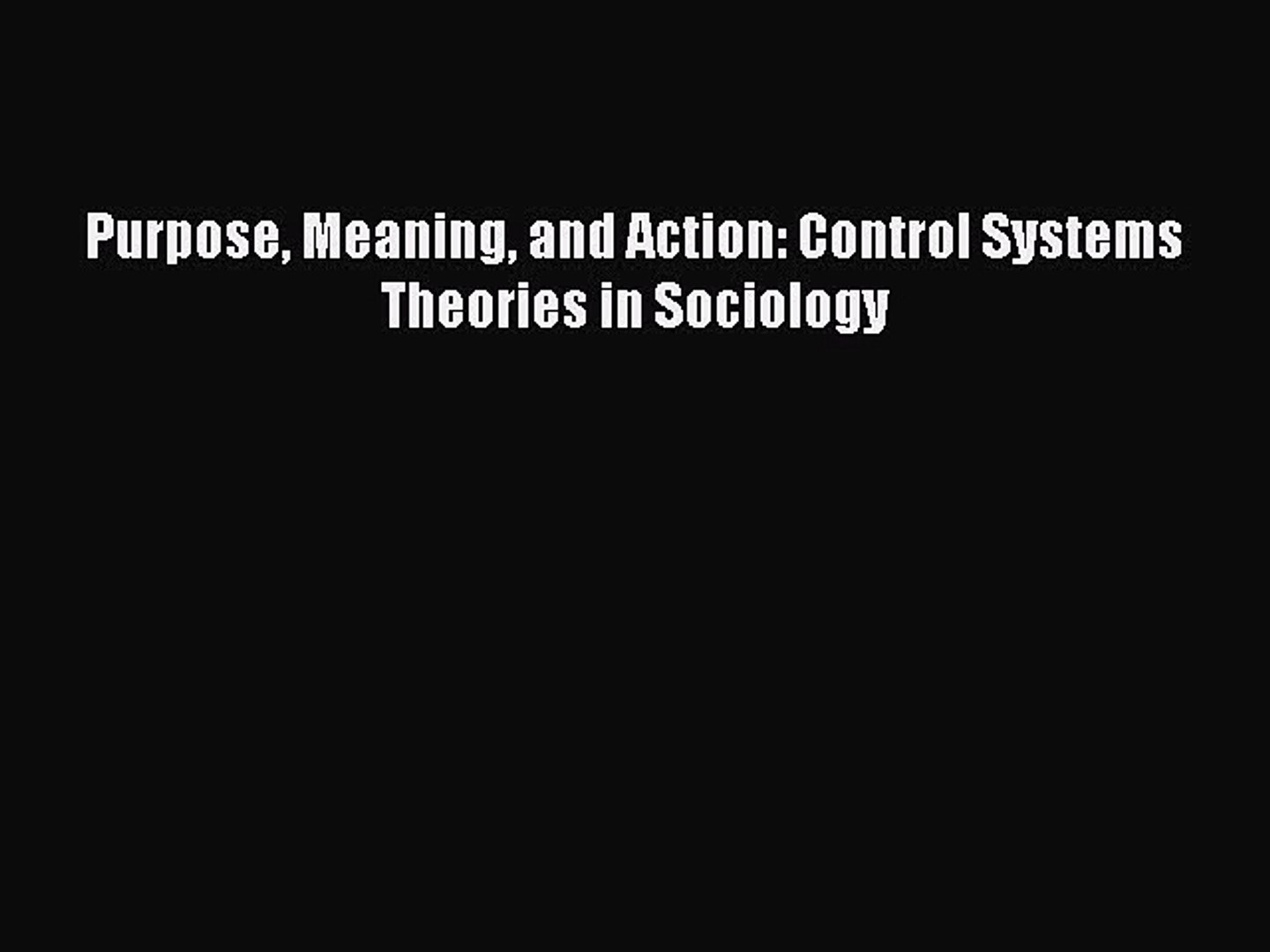 Control Systems Theories in Sociology