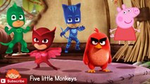Peppa pig crying Pj masks saves her of red angry birds funny story 5 little monkeys nursery song