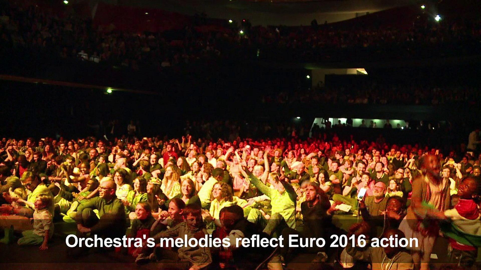 Paris musicians interpret Spain-Croatia Euro 2016 match