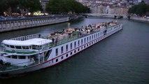 Lyon 28 Juin 2011 Quai de Saone Pasage d'un gros bateau de croisiére