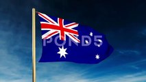 Australia Flag Slider Style. Waving In The Win With Cloud Background