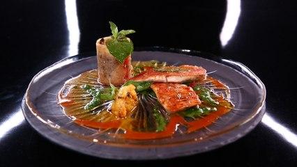 Filets de rougets, coulis et tartare de tomates, condiment au citron confit et purée verte par Sylvestre Wahid (#DPDC)