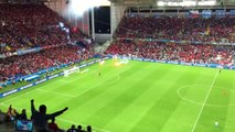 Turkish fans throw flares onto the pitch during Czech Republic vs Turkey EURO2016
