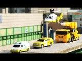 헬로카봇 장난감 4단합체 마이티가드 긴급출동  레스큐  야외 스톱모션 옐로우색 컬러합성  자동차  동영상 에니메이션 HelloCarbot2 Transformers car toys