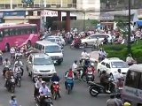 Saigon Traffic on a busy roundabout in HCMC, Vietnam