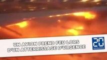 Un avion prend feu lors d'un atterrissage d'urgence