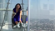 CRAZY Glass Slide Over Downtown LA = Cool or SCARY?
