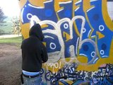 #19 GRAFFITI BOMBING UNDER THE HIGHWAY!!vandal SHONE  NGS!