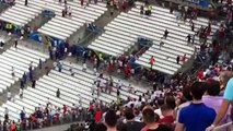 Russian hooligans chasing England fans in the stadium after England - Russia EURO 2016 HD