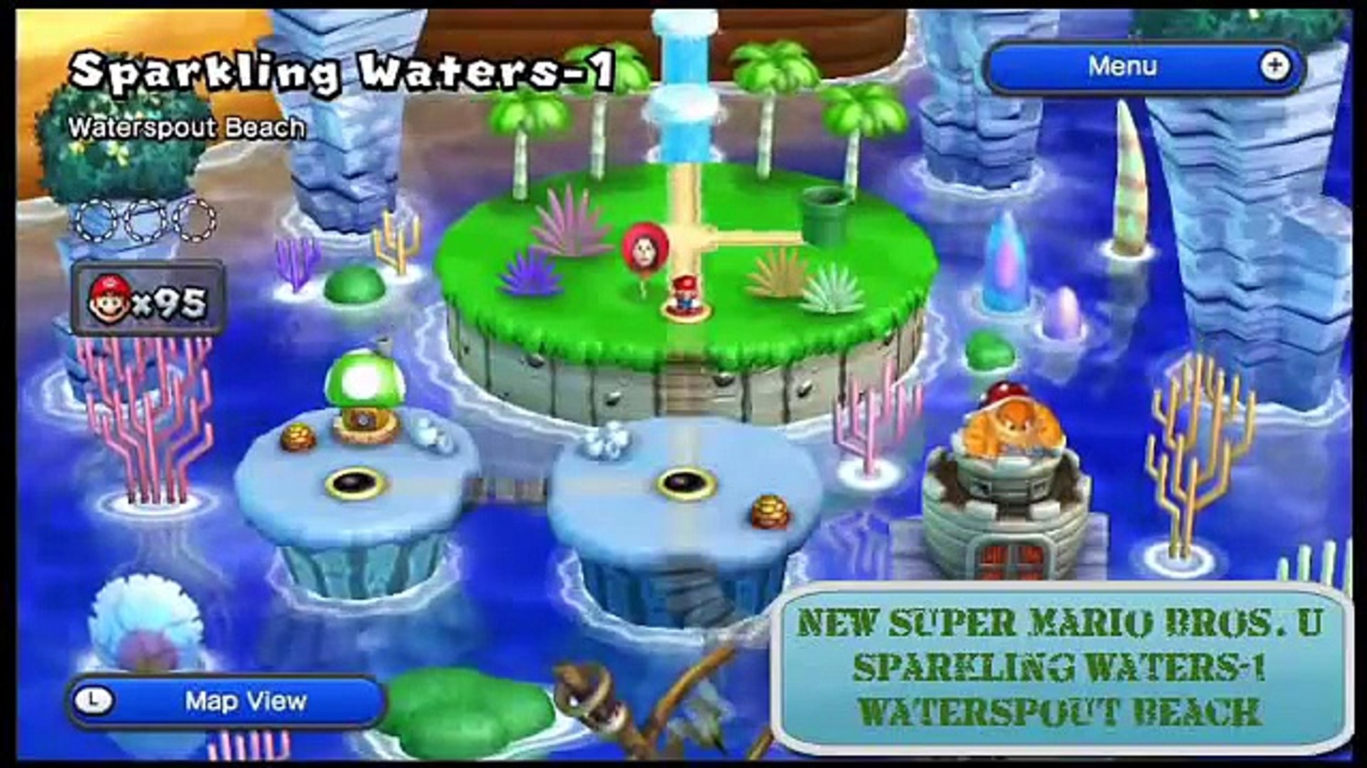 New Super Mario Bros. U: Sparkling Waters-1: Waterspout Beach - Star Coins
