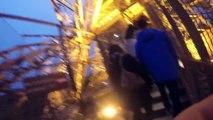 Un mec escalade la Tour Eiffel sans protection et illégalement !