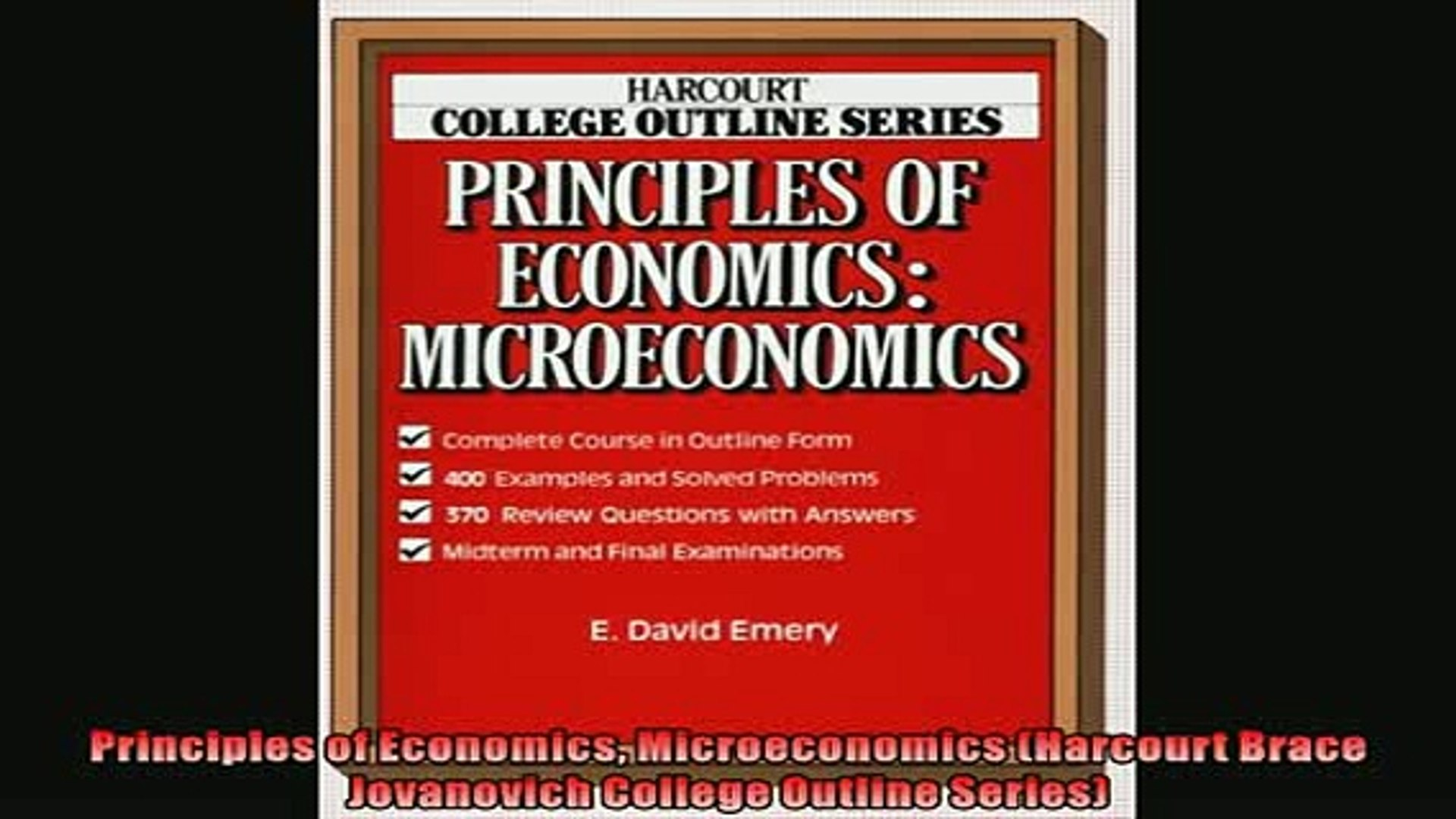 Popular book Principles of Economics Microeconomics Harcourt Brace  Jovanovich College Outline Series