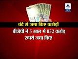 Congress raises Rs 1662 crore in 5 years, BJP Rs 852 crore 