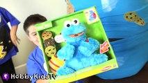 World's Biggest COOKIE MONSTER Surprise Egg! Sesame Street Toys HobbyKidsTV_2