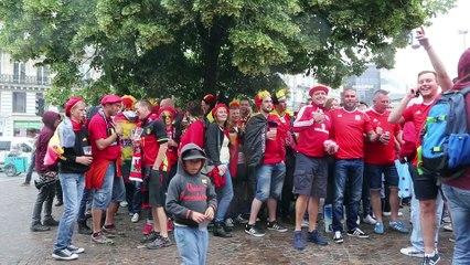 Euro à Lille : les supporters belges autour de la gare