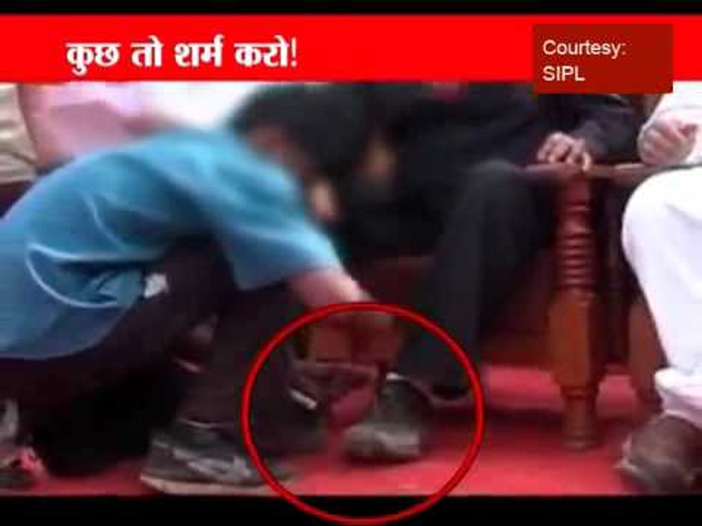 Anger over child tying shoe laces of MP minister Bhopal