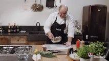 Recette: Tartare de langoustine, cannelloni de poireau et pomme verte, mayonnaise de basilic