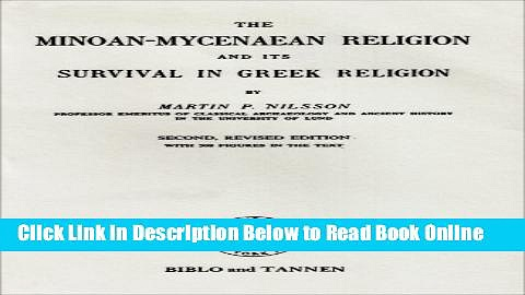 Download Minoan-Mycenaean Religion, and Its Survival in Greek Religion  Ebook Free
