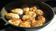 Fried Pork Meatballs Or Cutlets In Frying Pan - Stock Footage | VideoHive 15530882