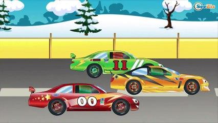 Dibujo animado para Niños. Coches de Carreras, Camión de Bomberos - Caricaturas para Bebés