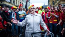 A granny in the middle of the Belgian supporters