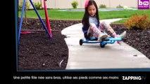 Une petite fille née sans bras, utilise ses pieds comme ses mains (Vidéo)