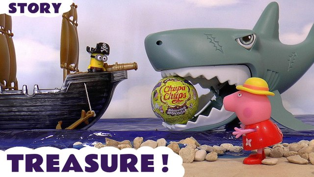 TREASURE --- Join Pirate Minions and Peppa Pig as they open Surprise Eggs Treasure the Pirates managed to steal, Featuring an egg eating Shark, Zootopia, The Good Dinosaur, Kinder, Spongebob Squarepants, and many more family fun toys