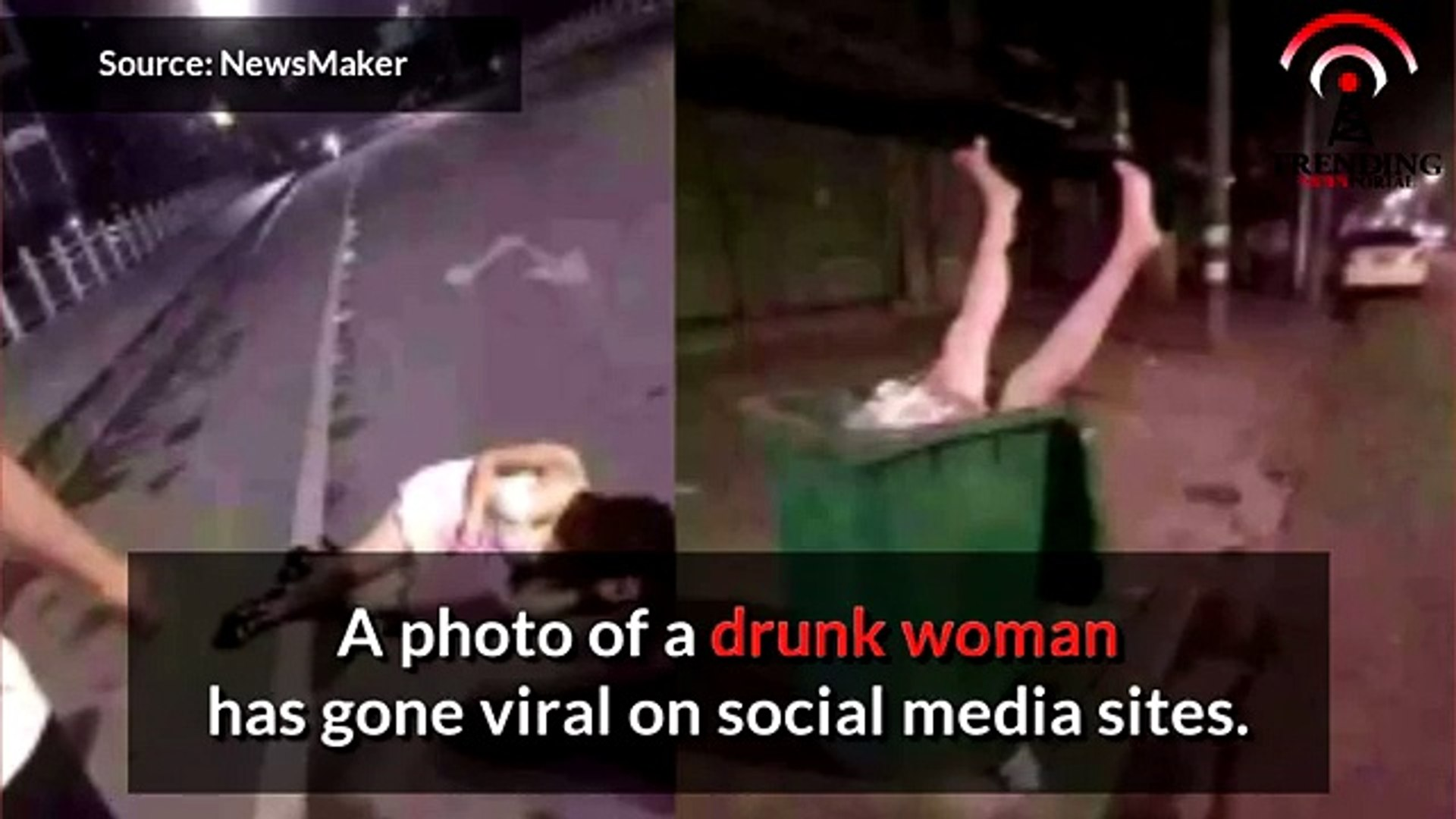 Drunk Girl Passed Out In The Midde Of The Road, Put inside The Garbage Can!