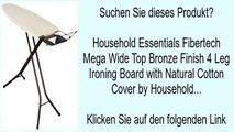 Household Essentials Fibertech Mega Wide Top Bronze Finish 4 Leg Ironing Board with Natural
