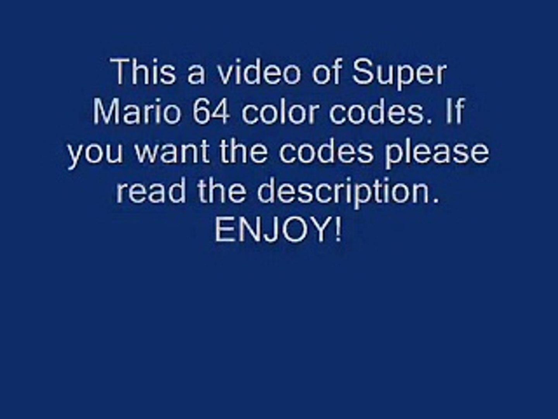 Super Mario 64 Color Codes part 1