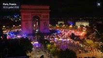 Concert de klaxons autour de l'Arc de triomphe après la victoire du Portugal