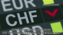 Swiss franc falling. World exchange market default. Global financial crisis. Stock Footage
