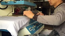 Asiaprint 2D Foiled Emboss Embossing Machine On Garent / Embossing Press Mashine For 100% Pure Cotton Fabric