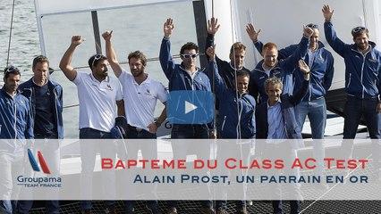 Baptême du Class AC Test à Lorient par Alain Prost