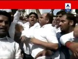 NSUI workers protests against Om Prakash Chautala over allegations against Rahul Gandhi
