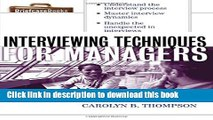 Read Interviewing Techniques for Managers (Briefcase Books (Paperback)) E-Book Download