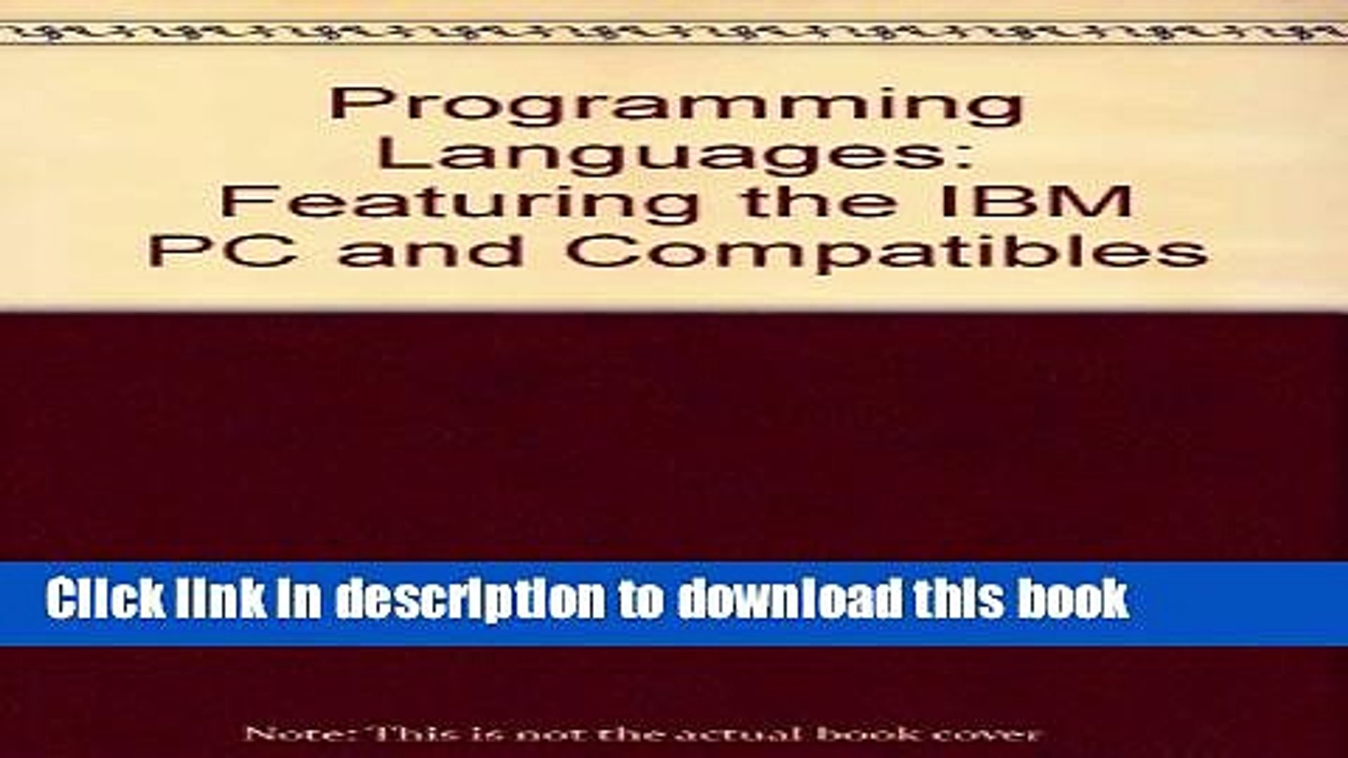Download Programming Languages: Featuring the IBM PC and Compatibles Ebook  Free