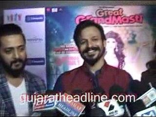 Great Grand Masti movie promotion in Ahmedabad; Vivek,Aftab,Riteish,Urvashi talks