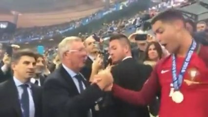 Euro 2016: Cristiano Ronaldo Hugs Alex Ferguson After Portugal Win