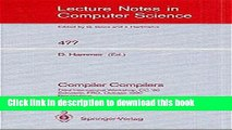 Read Compiler Compilers: Third International Workshop, CC `90. Schwerin, FRG, October 22-24, 1990.