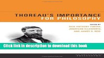Read Thoreau s Importance for Philosophy (American Philosophy (FUP))  PDF Free